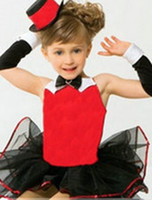 Wholesale Children Girls Stylish Modern Gauze Ballet Show Dress Girl Tutu Pageant Dresses Girls Dance Costume With Hat Gloves B0124