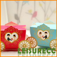 Favor Boxes Red Paper Wedding Candy Large Gift Boxes Lots Paper Blue Red Cute Sedan Wagon Bride And Groom Flowers Candy Bags HQ0167