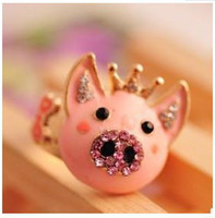 Wholesale New style fashion lovely delicate pink crown pig ring jewelry for women gift RI590