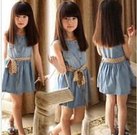 TuTu Summer A-Line Wholesale-Girl Summer 2015 New Arrival! Girl Clothing Baby Fashion sleeveless Princess denim dresse5