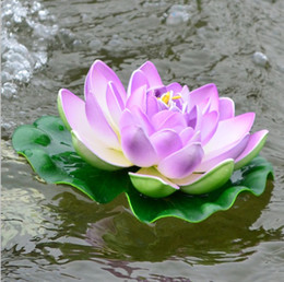Wholesale 10pcs CM Simulation Flower Artificial Silk Lotus floating water Home garden fish tank Decor