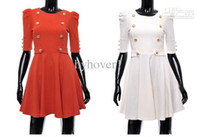 Mini Round Short Sleeve New Slim buttons decorated dress 2013 women wear korean style clothing dresses skirt