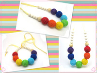 Wholesale Chunky Crochet ball nursing Teething necklace boho style knit ball necklace Christmas gift NW1333