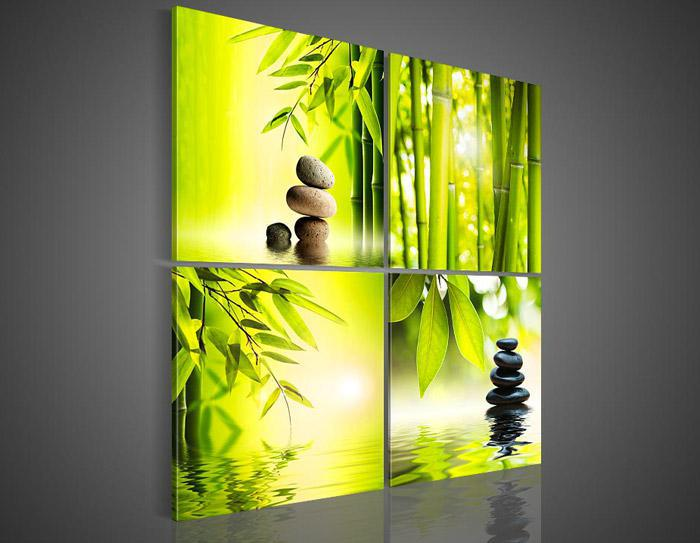 4 Piece Wall Art Botanical Green Picture Feg Shui Oil Painting On Canvas  Knife For Home