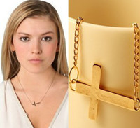 mens jewelry cheap - Personalized Cross Pendant Short Necklaces Jewelry Womens Mens Plated Gold Necklace The Cheap