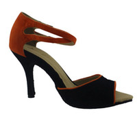 Wholesale The new special lady latin dance shoes soft bottom high heeled dancing shoes Latin shoes women black spell orange latin dance shoes women we