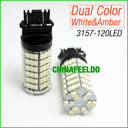 Promotion double t5 20pcs / lot T25 / 3157/3057 / 3457/4157 120SMD-1210 Blanc / Ambre Jaune Dual Color LED Turn Signal Ampoules