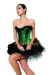 3 Colors Ladies Sexy Lingerie Lace Up Basque Corset Separate Tutu Fancy Dress Club Wear 812 S--XXL