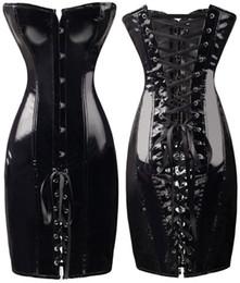 Wholesale Sexy Leather Lingerie Corset - Sexy Lingerie Black PVC FAUX LEATHER Basque Corset Dress fancy dress 1632 S-XL