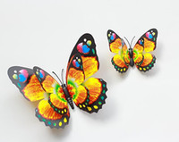 Wholesale retail cm Vivid double deck wings Butterfly Fridge Magnet safety clasp brooch pins for Home Decor wedding party gift