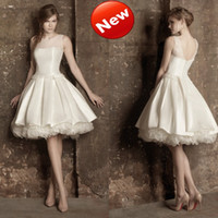 Wholesale New Arrival Scalloped A Line Ruffle Beads Backless Button Party Short Bridal Gown Wedding Dress