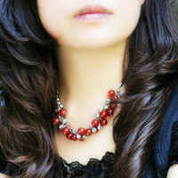 Wholesale New Year natal gift retro Chinese style original natural red agate Miao silver necklace female model