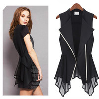 Wholesale 2013 spring summer new Europe shirt wind pull tide edition waistcoa sleeveless chiffon shirt Women Irregular Hem zipper upper belt s1317 DHL