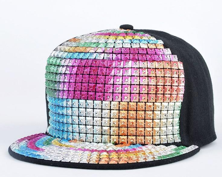 silver sequin baseball cap colorful hat candy pink womens