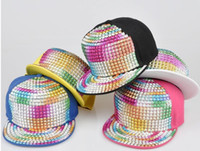 Wholesale Black Hiphop Cap Colorful Sequin Baseball Hat Candy Color Men Snapback Cap Women Sequin Hats Adjustable Hat Unisex Snapback Cap