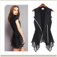 Wholesale 2013 spring and summer new Europe Vest top wind pull tide edition Corset sleeveless chiffon vest Women Irregular Hem zipper upper belt s1317