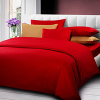 Wholesale Fashion solid color red comforter bedding set king size doona duvet cover bed sheet bedclothes cotton bed in a bag