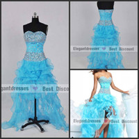 Wholesale Nice Crystals Beading Formal Dresses Evening High Low Organza Prom Dresses h