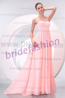 Wholesale Big Discount New Design Hot Item Pink Strapless Empire Ruffle Custom Made Chiffon Prom Evening Bridemaid Dresses