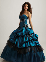 Wholesale Modern Aqua Blue And Black Quinceanera Dresses Ball Gown prom dressess Floor Length Taffeta Handmade Flower Pleated Bustled Q300