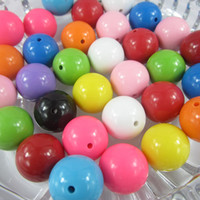 Wholesale 20mm Chunky assorted bubblegum acrylic solid round chunky beads for necklace beads