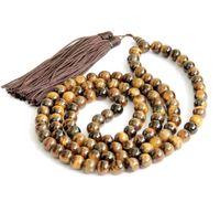 Wholesale 8mm Tiger Eye Gem Tibet Buddhist Prayer Beads Mala Necklace