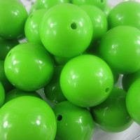 Wholesale 20mm Chunky lime green bubblegum acrylic solid round necklace beads