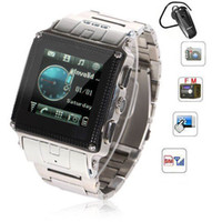 Wholesale 1 quot W818 Waterproof Watch Phone Quad Band Single SIM BH320 Bluetooth Headset Touch Screen FM MP3 MP4 Camera Bluetooth Mobile Cell Phone