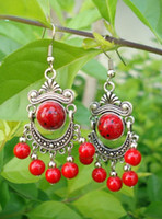 Bracelet,Earrings & Necklace asia beads - 10pcs Pair Wonderful Tibet Silver Asia Red Coral beads earrings Price