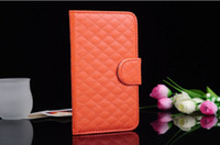 Wholesale Grid Grain Wallet Stand Holder Folio Leather Plastic Case Cover W ID Card Holder For Samsung Galaxy Note2 N7100 Cases N71C16