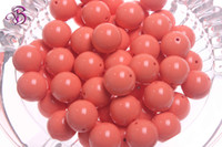 Wholesale 20mm Chunky coral bubblegum acrylic solid round necklace beads