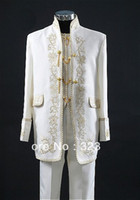 Wholesale New Design Embroidery Groom Tuxedos Groomsmen Men Wedding Suits Bridegroom Jacket Pants Vest Tie OK
