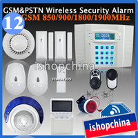 Wholesale DIY Zones GSM Cellular PSTN Dual Network Wireless Security Burglar Alarm System w Low Battery Voltage Remind Auto Dialling iHome328MG12