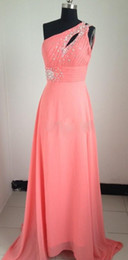 wholeale a line one shoulder sweep train watermeon coral pink chiffon pleated beads front split real sample prom dresses evening dresses