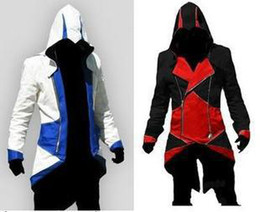 Wholesale Assassins Creed III Conner Kenway Hoodie Coat Jacket Cosplay Costume PU FAUX