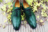 Precio de Los hombres hechos a mano de los zapatos oxford-zapatos de vestir zapatos de los oxfords de los hombres zapatos de cuero genuinos hechos a mano de encargo de los hombres zapatos de color verde de la venta caliente HD-0119