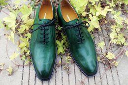 Dress shoes Oxfords shoes Men's shoes Genuine Leather Custom Handmade men Shoes color Green Hot sale HD-0119