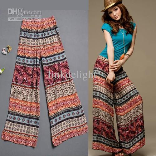 Wide Leg Dress Pants Summer Autumn Spring Printed Flower Pattern ...