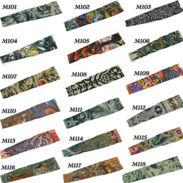 Wholesale nylon tattoo sleeve stretchy Arm Stocking Mix fake tattoo Apparel for men tattoos sleeves