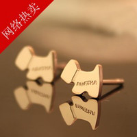 Wholesale Ms earrings ear jewelry Korean version of small fragrant rose gold titanium steel dog tag earrings