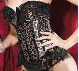 Wholesale Plus Size Sexy Burlesques Leopard Print Corset Bustier Basques and Thong Lingerie Laced S M L XL XL XL XL XL XL