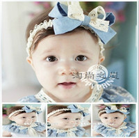 baby blue ribbon - Children baby blue ribbon bow hair bands hair accessories baby child ribbon dandys