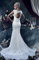 Wholesale 2013 Retro vintage Elengant High Quality V neck Mermaid Column Monarch Royal Flower Beads Lace Pearls Backless Beach Wedding Dresses