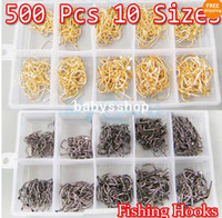 Wholesale Set Sizes Silver Golden Circle Fishing Hooks Fish Tackle Plastic Box