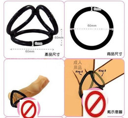 Wholesale Triple ring Cock Ball Bondage Rings Cage Penis Ring CBT Adult Sex Toys Products For Him XLY1030