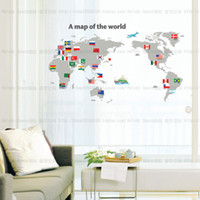 Removable animal world map - World Map Wall sticker PVC Stickers Wandttattoo Vincy Sticker Decals Kids Room Deco A map of the world sticker