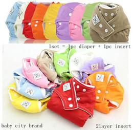 Bébé tissu réutilisable couche nappy à vendre-Prix le plus bas Babycity 10Pc réglable bébé réutilisable lavable tissu couches + 10pc coton Inserts (2Layers) U choisir 9 couleur librement