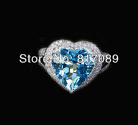 Wholesale Heart Shaped mm Blue Topaz K White Gold Pave ct Diamond Engagement Ring
