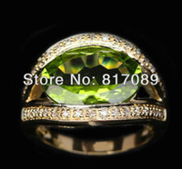 Wholesale UNIQUE PERIDOT amp DIAMOND ctw K YELLOW GOLD Engagement Wedding RING g