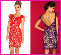 Jewel cocktail dress - Hot Sell Red Cap Sleeve Lace Backless Sheath Mini Party Dresses Cocktail Dress E3345